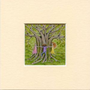 Tree hugs print
