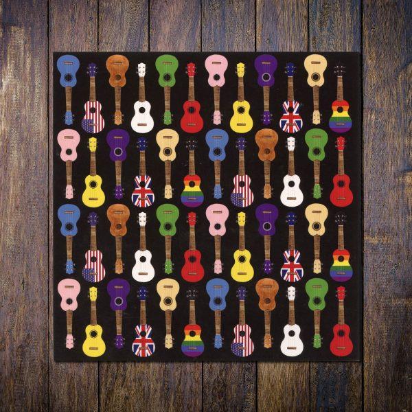 colourful ukulele card black