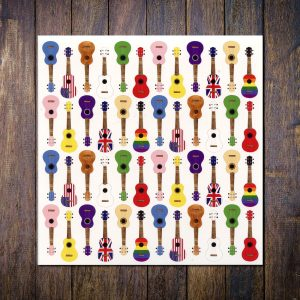 colourful ukulele card white
