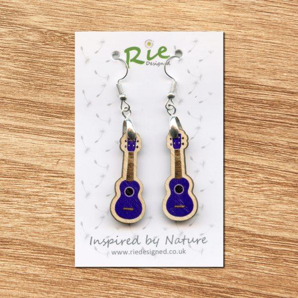 purple wooden ukulele earrings