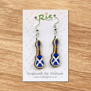 Saltire Scottish Wood Ukulele Drop Earrings