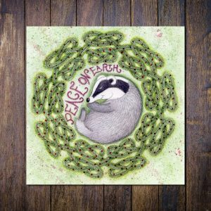 sleeping badger greetings card