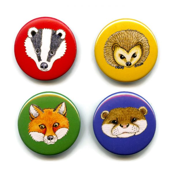 woodland animal button badges