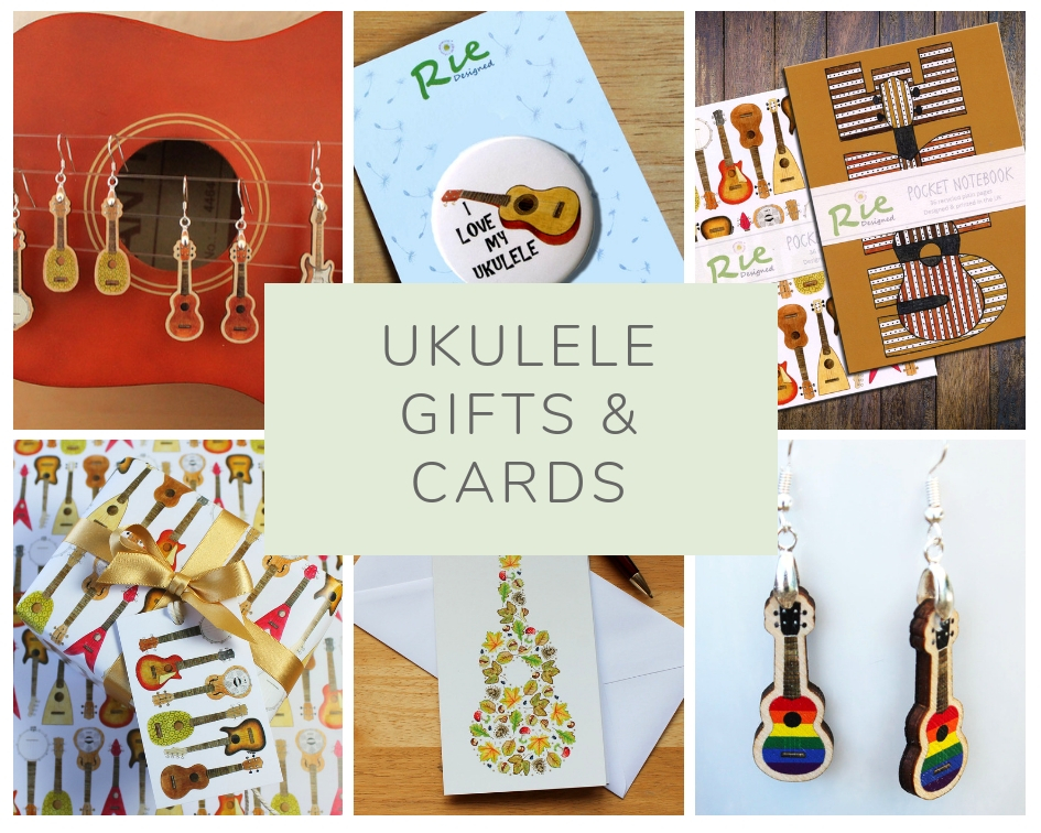 Rie designed ukulele cards and gifts