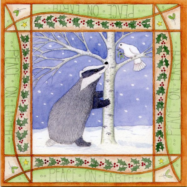 badger and dove christmas card