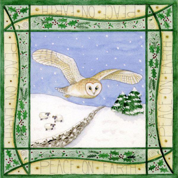 barn owl christmas card
