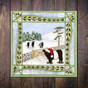 beltie cow christmas card