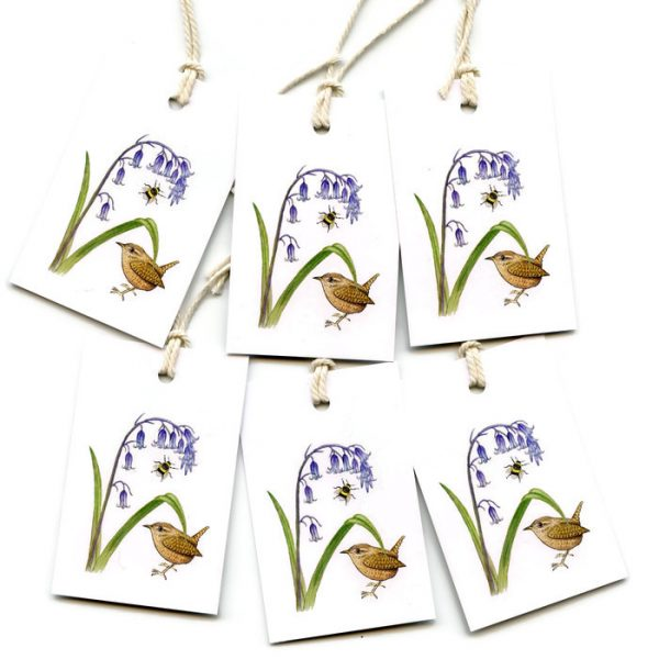 wren and bluebell gift tags