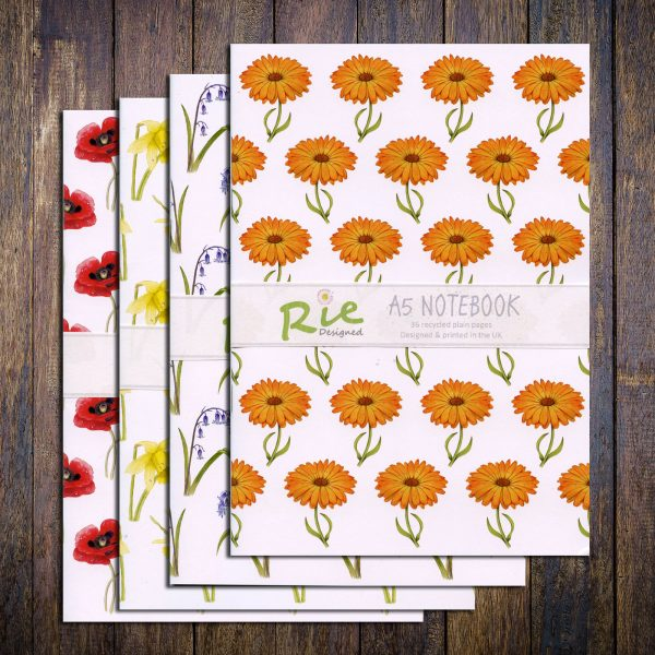 set floral recycled notebooks