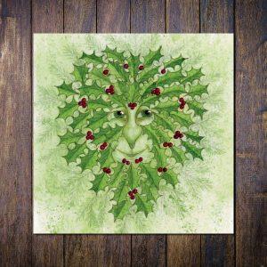 green man christmas card