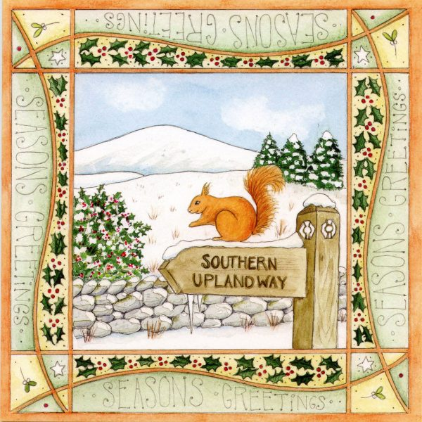 Red Squirrel christmas card Southern Upland Way Footpath, Dumfries & Galloway Scotland