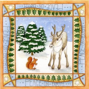 Reindeer & Red Squirrel christmas card