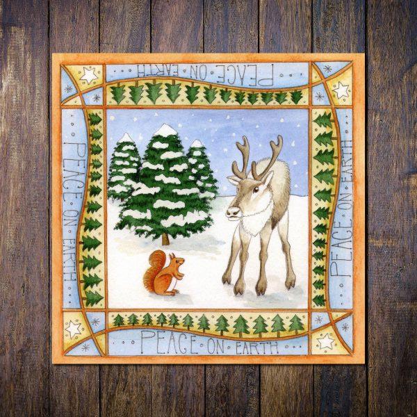 Reindeer & Red Squirrel christmas card