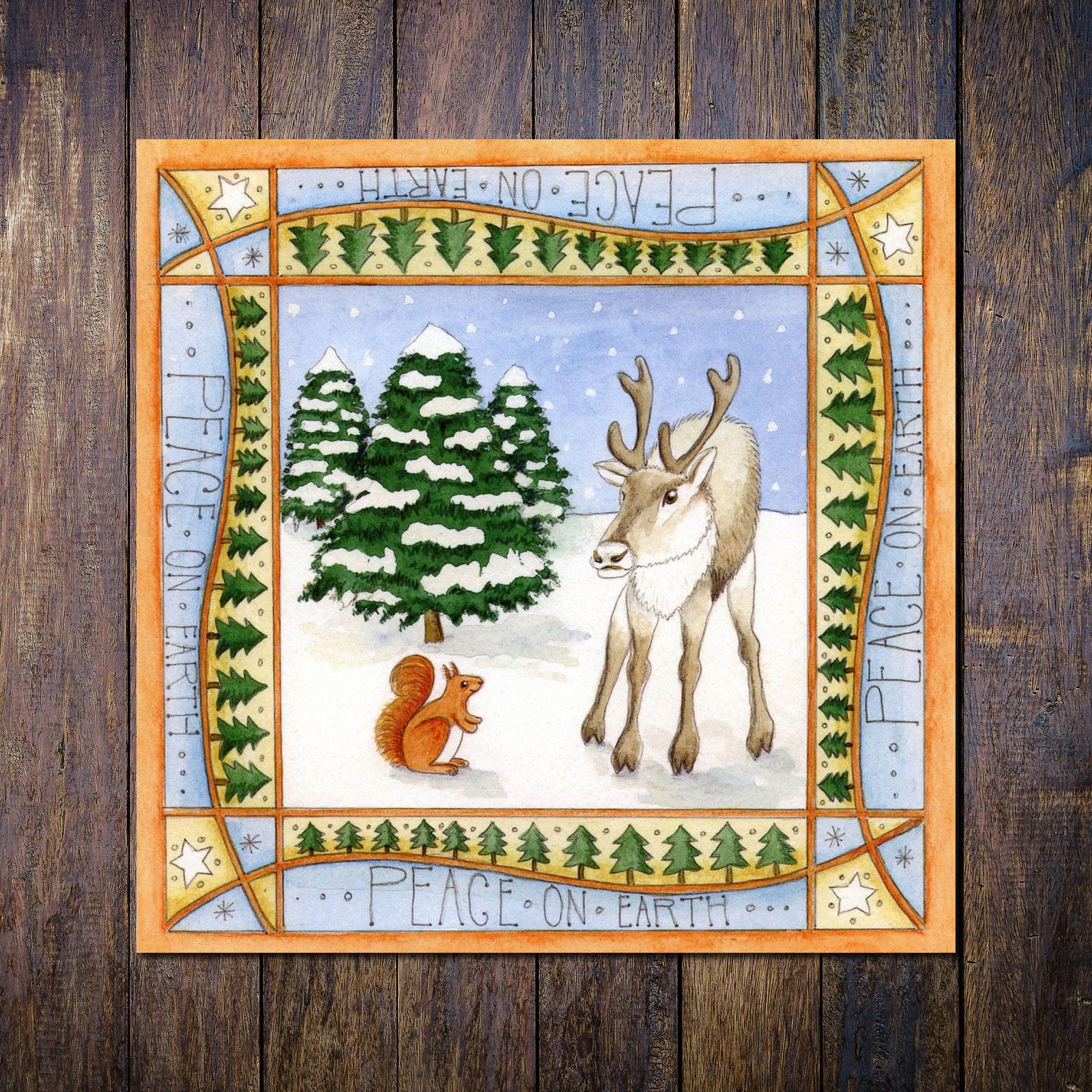 Reindeer Red Squirrel Christmas Card