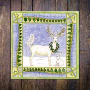 white stag christmas card