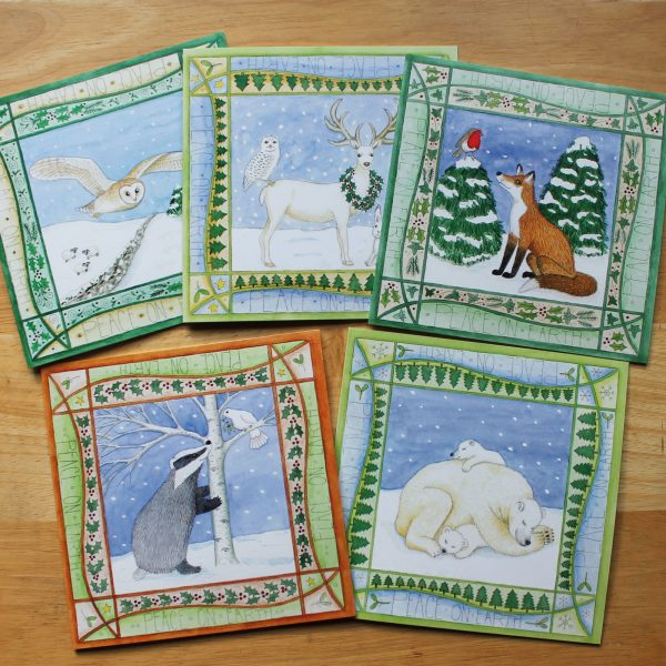Pack of 5 Asst animal christmas cards