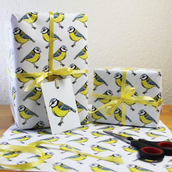 bluetit bird gift wrap