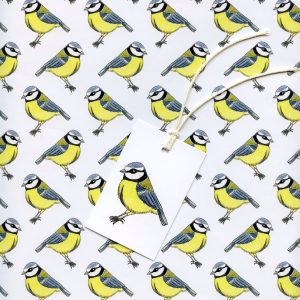 bluetit bird gift wrap