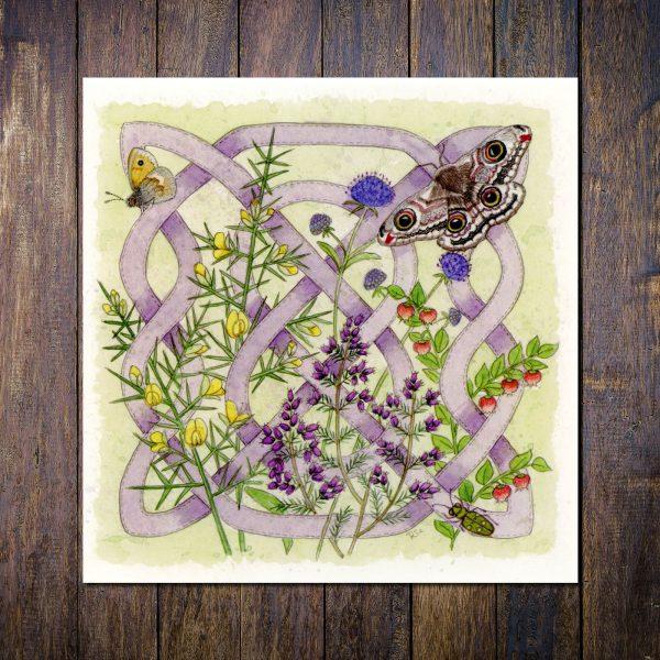 Celtic Flora Heath Greetings Card
