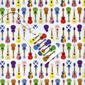 Multicoloured ukulele gift wrap