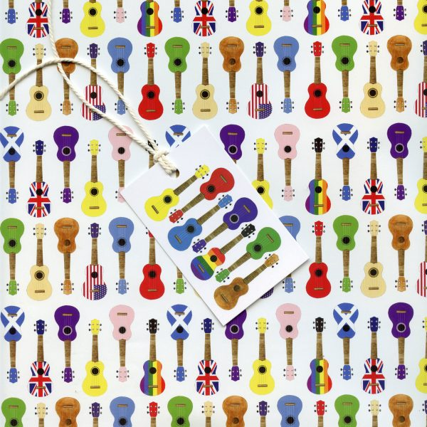 Multicoloured ukulele gift wrap