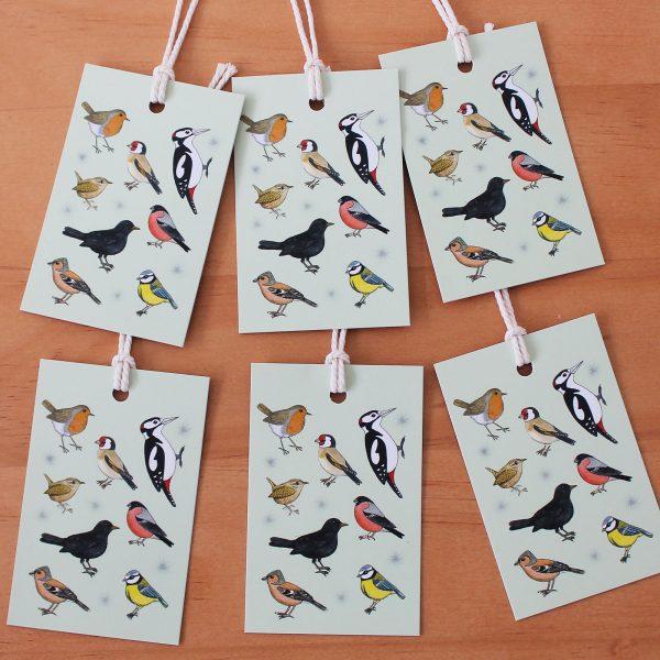 garden birds gift tags
