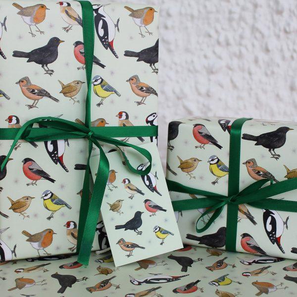 garden birds gift wrap