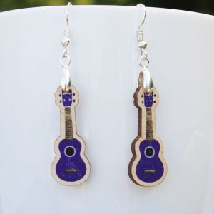 purple wooden ukulele earrings