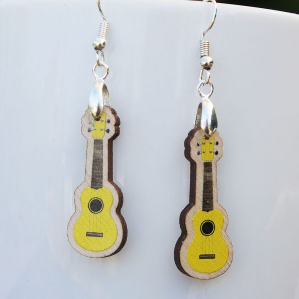 green wood ukulele drop earrings