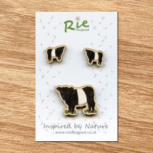beltie brooch and earrings