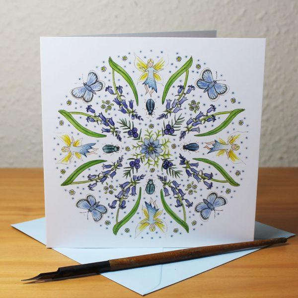 Blue Fairy Mandala Greetings Card