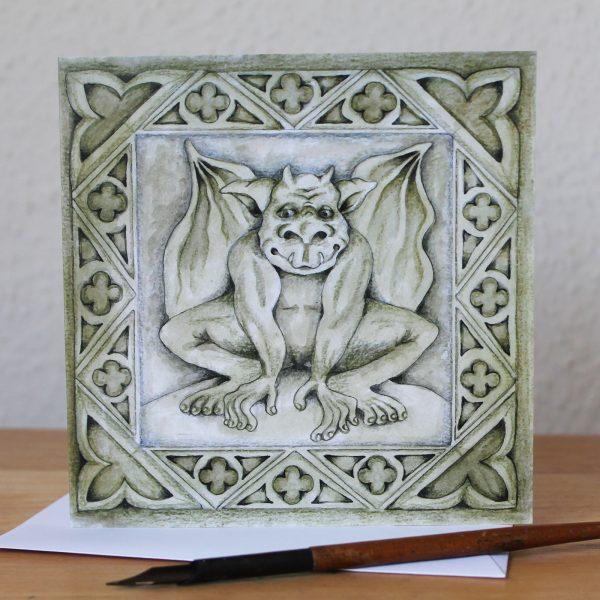 Gargoyle Blank Square Greetings Card