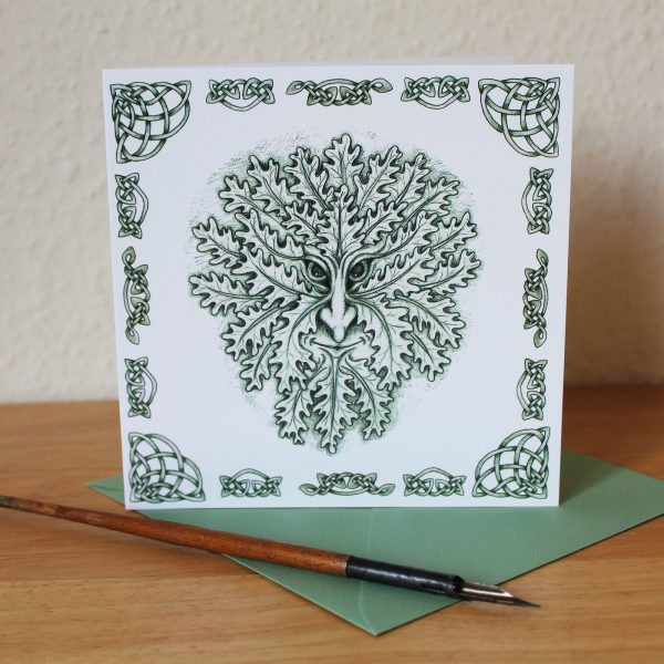 Celtic Green Man Blank Square Greetings Card
