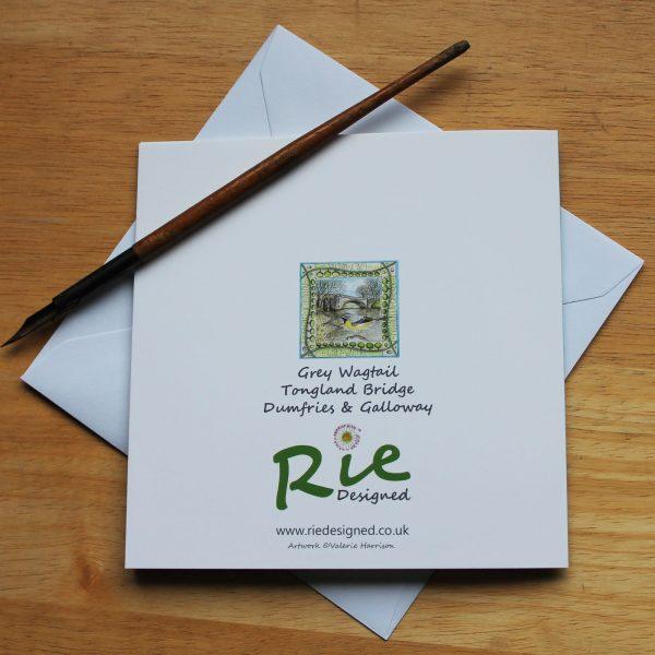 grey wagtail tongland bridge greetings card