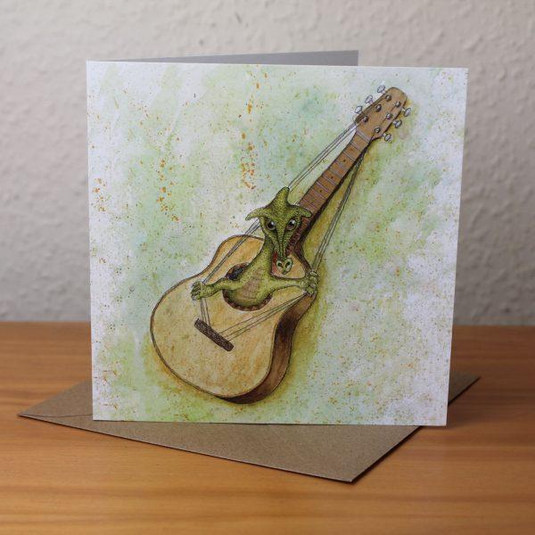Guitar Dragon Blank Square Greetings Card