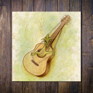 Guitar Dragon Blank Square Greetings Card
