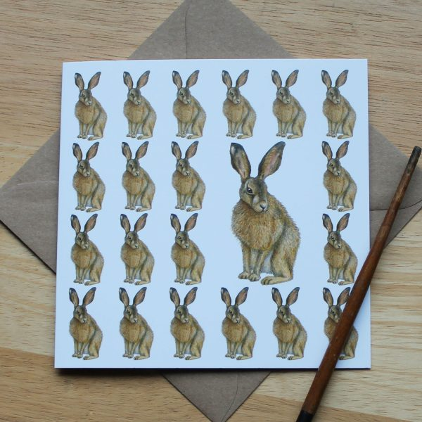 Brown Hare Blank Square Greetings Card