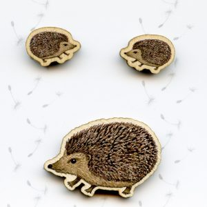 Hedgehog brooch and earrings