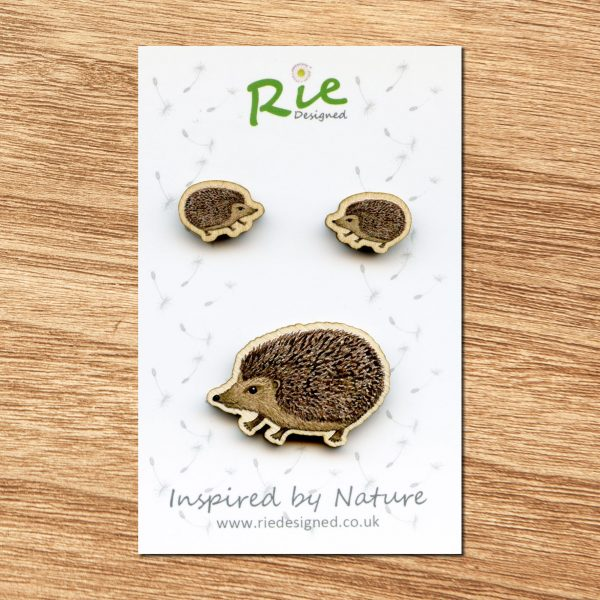 Hedgehog brooch and earrings