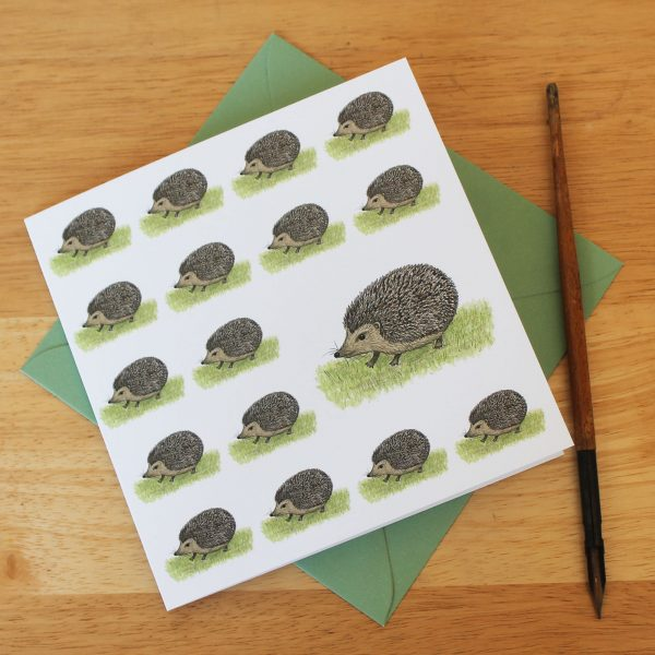 Hedgehogs Blank Square Greetings Card