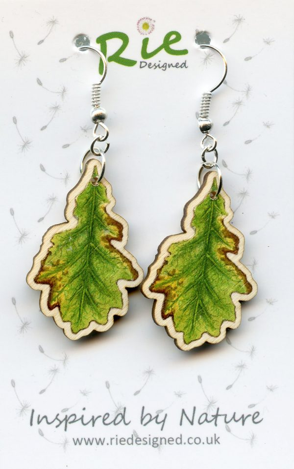 oak leaf drop earrings