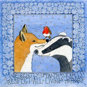 badger and fox christmas card