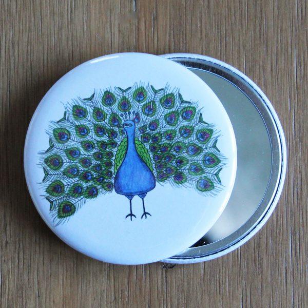 peacock pocket mirror