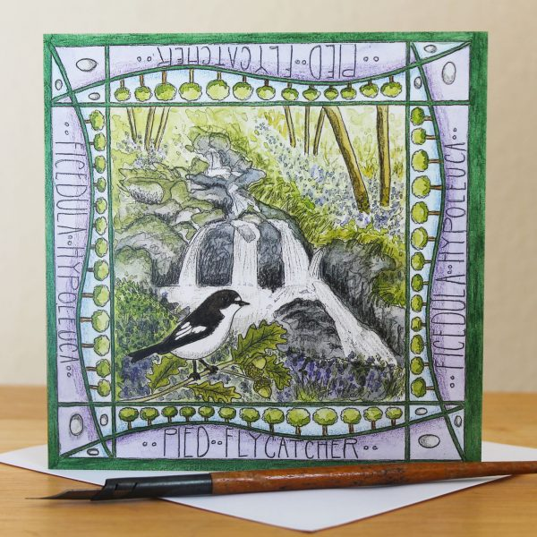 Pied Flycatcher Wood of Cree greetings card