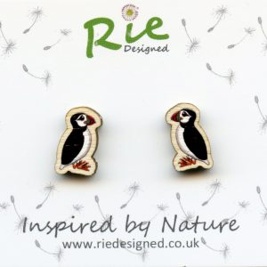 wooden puffin stud earrings