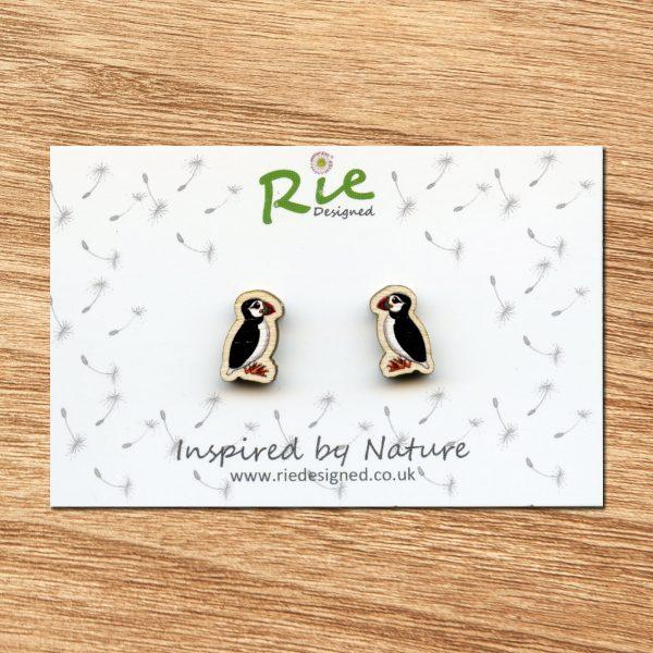 wooden puffin stud earrings