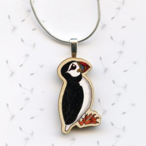 wooden puffin pendant necklace