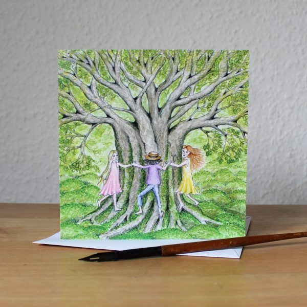 Tree Hugs Greetings Card