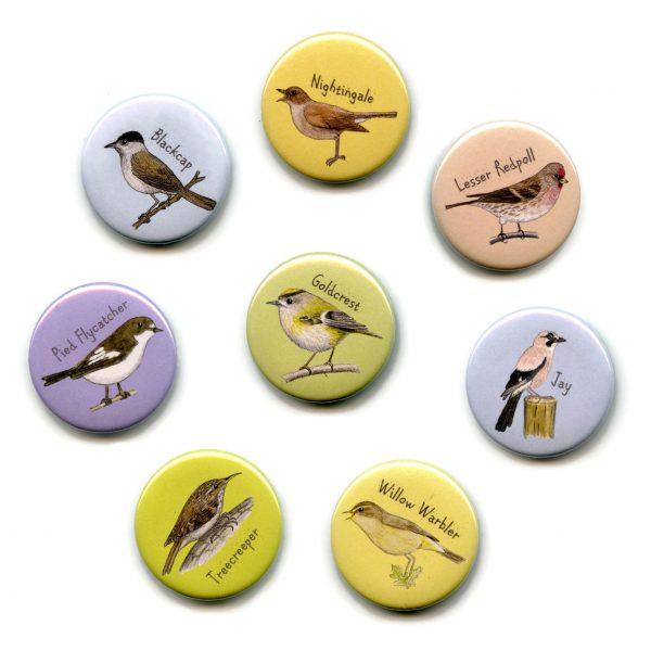 woodland birds fridge magnets