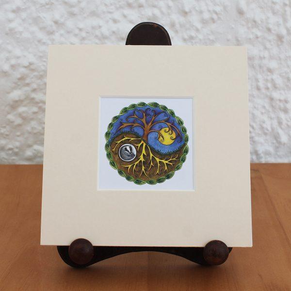 yin and yang badger mounted miniprint